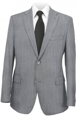 Ike Behar Light Gray Wool-Cotton Slim Fit Suit #20-068241-040