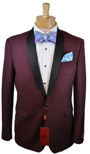 Renoir Burgundy Shawl Collar Slim Fit Tuxedo #201-8