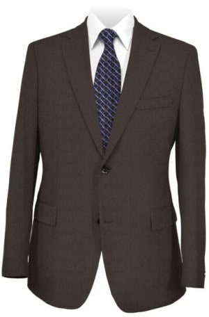Pal Zileri Brown Fine Check Tailored Fit Suit #21517-46
