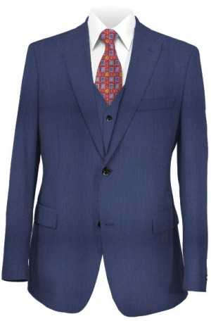 """1 Like No Other"" Dark Blue Vested Slim Fit Suit #218375"