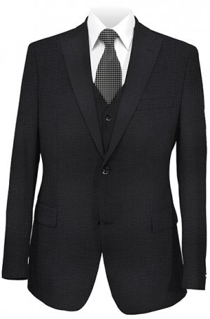 Tiglio Charcoal Micro-Check Tailored Fit Vested Suit 2377-1391