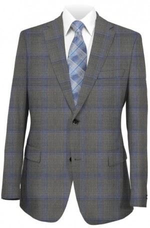 Caneletto Gray Windowpane Tailored Fit Suit 240215-2