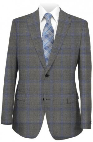 Caneletto Gray Windowpane Tailored Fit Suit #240215-2
