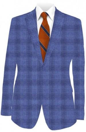 Betenly Blue Pattern Cotton-Linen Sportcoat #281069