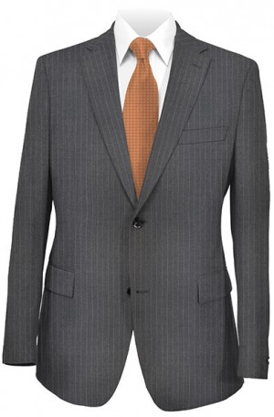 Petrocelli Gray Pinstripe 'Executive-Portly' Cut Suit #29522
