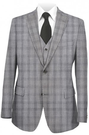 Tiglio Gray Plaid Tailored Fit Vested Suit 3057-1