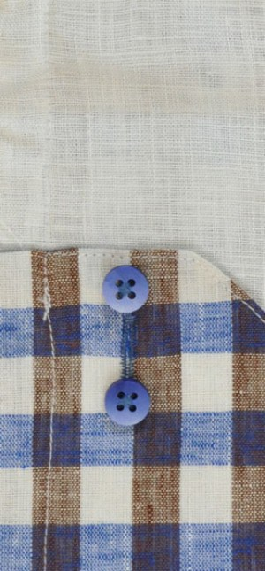 International Laundry Blue-Tan-White Long Sleeve Linen Shirt #3122-01