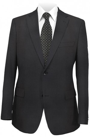 Jack Victor Black Herringbone Suit 332116