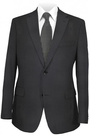Petrocelli Black Stripe 'Executive-Portly' Cut Suit 36320