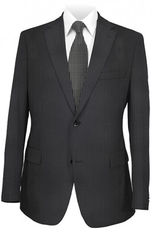 Petrocelli Black Stripe 'Executive-Portly' Cut Suit #36320