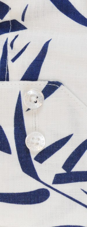 International Laundry White & Navy Linen Long Sleeve Shirt #3706-03