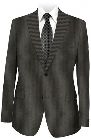 Jack Victor Black Stripe Suit with Pleated Slacks 372326