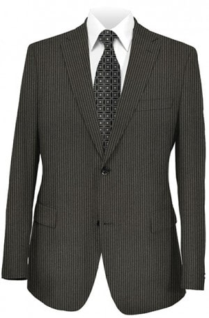 Jack Victor Black Stripe Suit with Pleated Slacks #372326