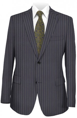 Jack Victor Navy Pinstripe Suit with Pleated Slacks 38346