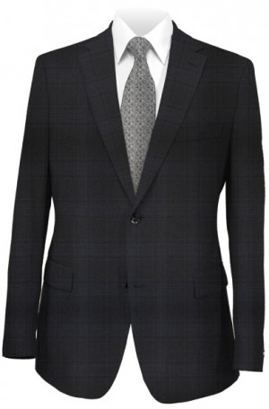 Rubin Black Pattern Tailored Fit Suit #40960