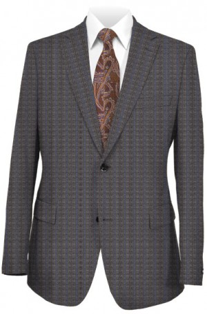 Rubin Medium Gray Pattern Tailored Fit Suit 41349