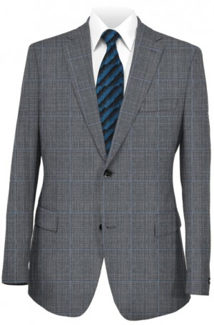 Rubin Gray Windowpane Tailored Fit Suit #41999