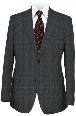 Rubin Gray Windowpane Tailored Fit Suit 42069