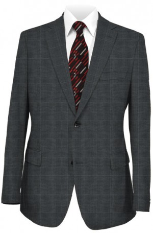 Rubin Gray Windowpane Tailored Fit Suit #42069