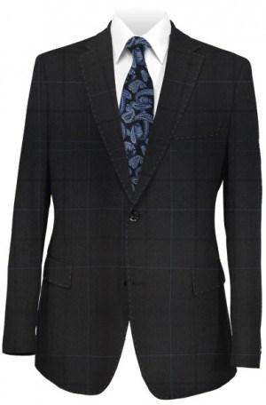 Rubin Black Windowpane Tailored Fit Suit 42100