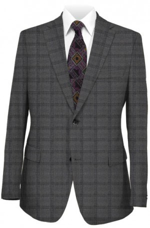 Rubin Gray Plaid Tailored Fit Suit 42119