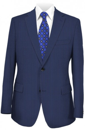 """""""The Smart Check"""" Blue Micro-Check Tailored Fit Suit from Rubin 43406"""