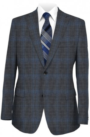 Rubin Charcoal & Blue Pattern Tailored Fit Suit 43479