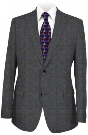 Rubin Charcoal with Blue Pattern Tailored Fit Suit #43519