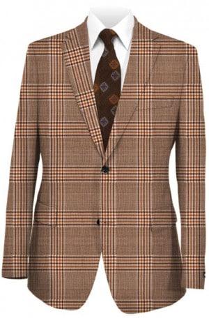 Tiglio Dark Tan Pattern Tailored Fit Sportcoat #444123-2