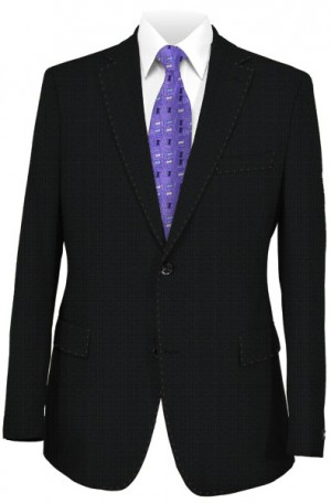 Rubin Black Textured Wool-Silk Tailored Fit Suit #45520