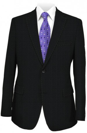 Rubin Black Textured Wool-Silk Tailored Fit Suit 45520