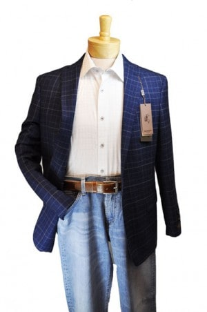 Prontomoda Blue Plaid Tailored Fit Sportcoat #49011
