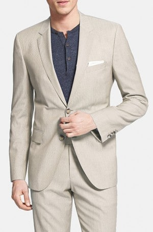 Hugo Boss Tan & White Tailored Fit Summer Suit #50262991-270
