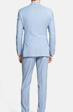 Hugo Boss Blue & White Tailored Fit Summer Suit #50262991-450