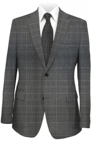 Hugo Boss Charcoal Windowpane Tailored Fit Suit #50275422-021