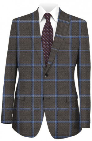 Caneletto Gray Windowpane Silk-Wool Sportcoat #51189-42