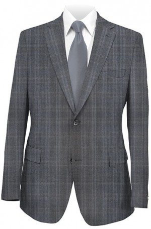 Rubin Gray Windowpane Gentleman's Cut Suit #52114