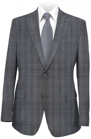 Rubin Gray Windowpane Gentleman's Cut Suit 52114