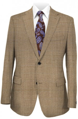 Rubin Tan Plaid Tailored Fit Suit #52883