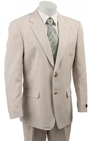 Haspel Tan Check Linen Summer Suit #5911