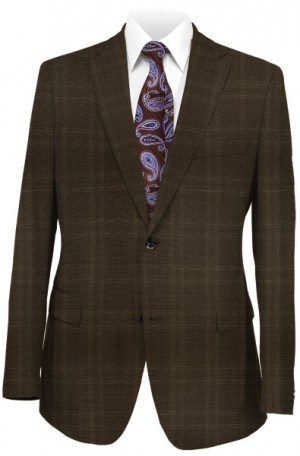 Calvin Klein Brown Pattern Tailored Fit Suit #5FX1055