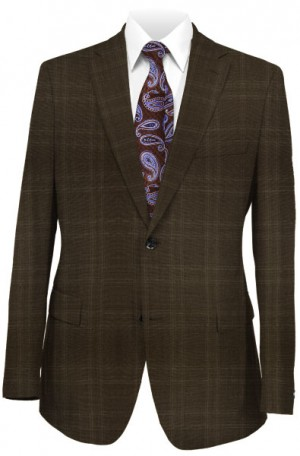Calvin Klein Brown Pattern Tailored Fit Suit #5FX1055