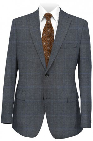 Calvin Klein Charcoal Blue Pattern Tailored Fit Suit #5FXL206