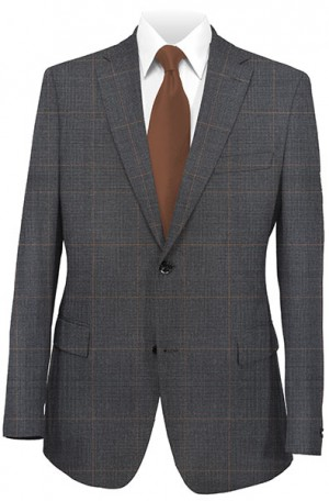Calvin Klein Gray Windowpane Tailored Fit Suit #5FXL219