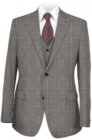 Caravelli Light Gray 3-Piece Vested Pattern Suit # 68838
