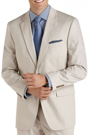 Haspel Classic Tan Poplin Suit with Pleated Slacks #7012P