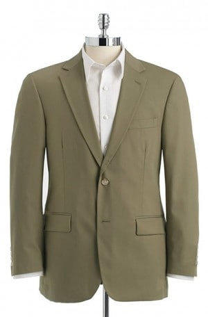 Haspel Olive Poplin Suit with Pleated Slacks #7015P