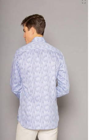 International Laundry White & Blue Slim Fit Long Sleeve Shirt #7307-5
