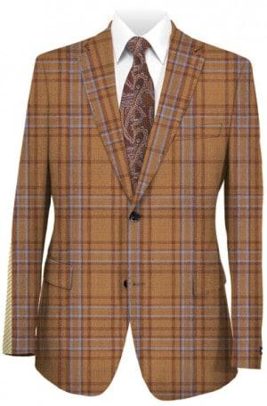 Tiglio Rusty Orange Pattern Tailored Fit Sportcoat #74223-9