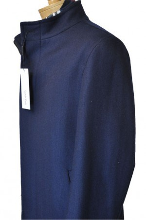 Calvin Klein Navy Tailored Fit 3/4-Length Top Coat #7AC0034